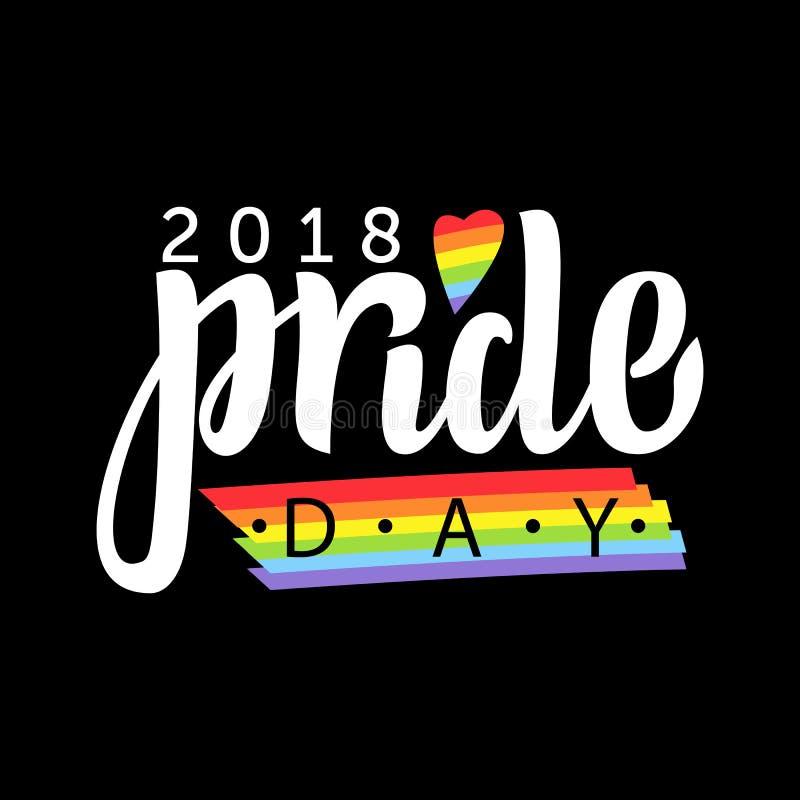 快乐字法 与LGBT彩虹手字法的概念性海报 五颜六色的闪烁手写的词组自豪感天2018年 向量例证