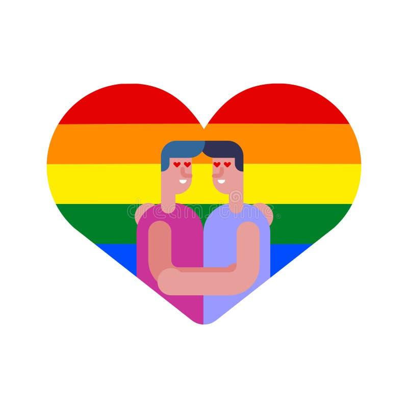快乐恋人在心脏 结合两个男孩 LGBT爱标志标志 库存例证