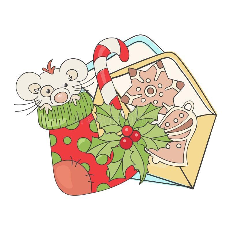 快乐新老鼠圣诞动画矢量图插图集 向量例证