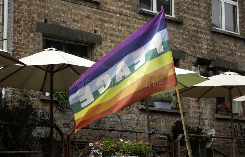 快乐旗子和和平 免版税库存图片