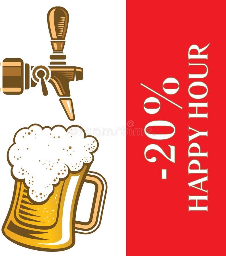 快乐时光用在杯子的免费啤酒在啤酒轻拍下 皇族释放例证