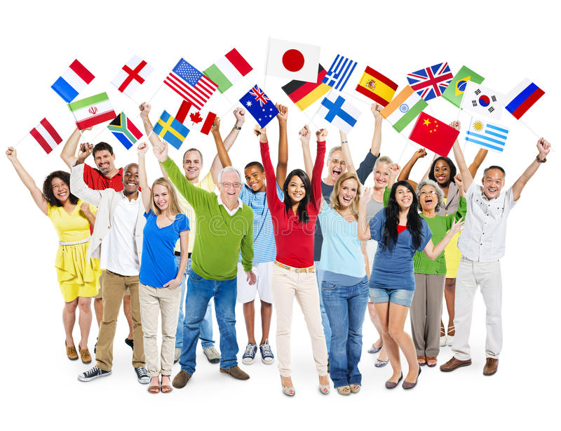 快乐的不同种族的文化人幸福概念 库存图片