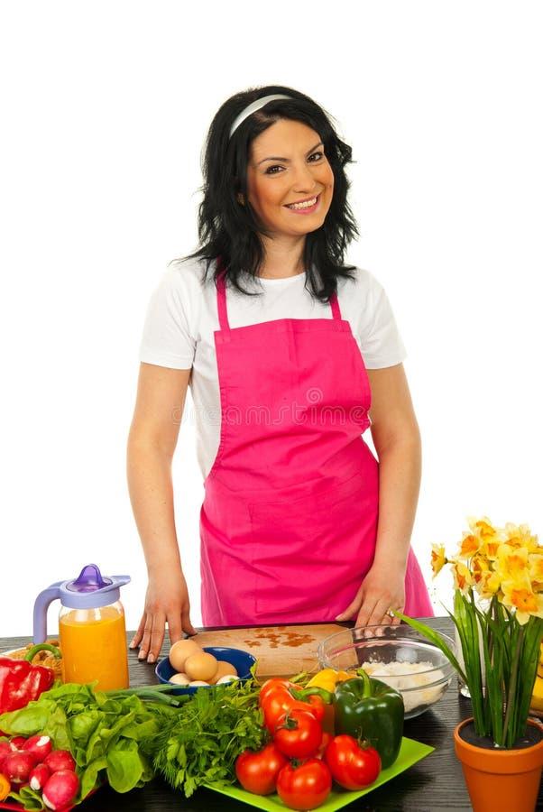快乐的主厨妇女 免版税库存图片