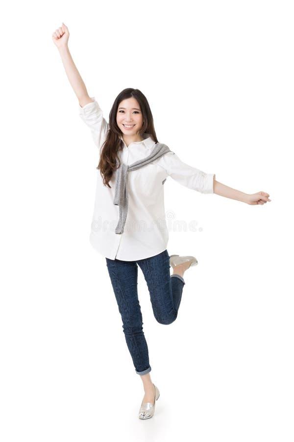 快乐的亚裔妇女 免版税库存照片