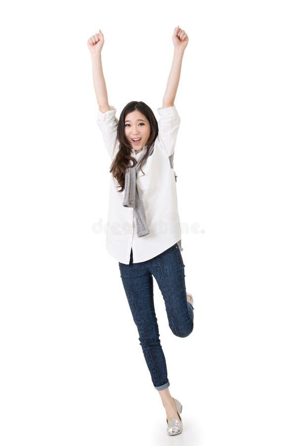 快乐的亚裔妇女 免版税库存图片
