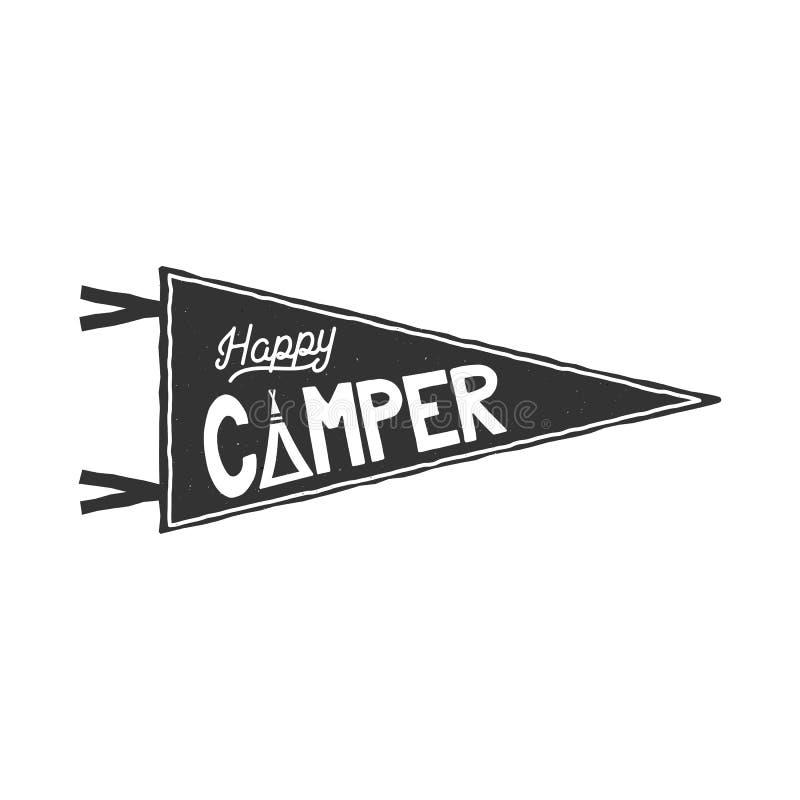 快乐的人信号旗模板 印刷术设计和室外活动标志-帐篷 单色 被隔绝的传染媒介  向量例证