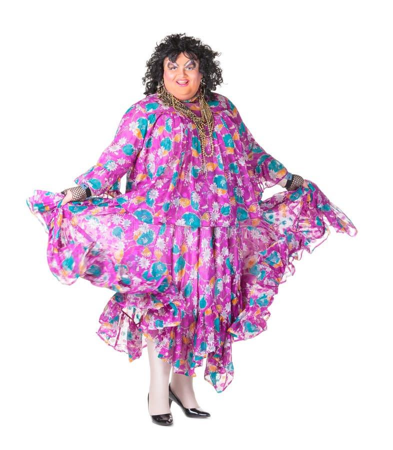 快乐的人,扮装皇后,一个女性诉讼的 库存图片