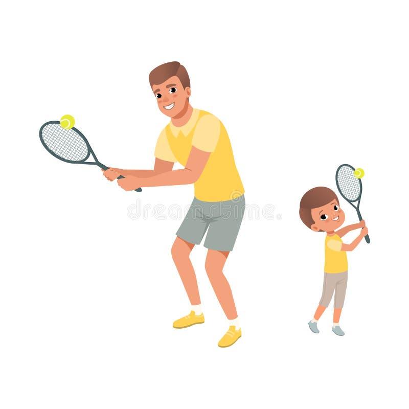 快乐的使用在网球的爸爸和他的儿子 父亲和孩子穿戴了简而言之和T恤杉 有效的体育运动 父权 向量例证