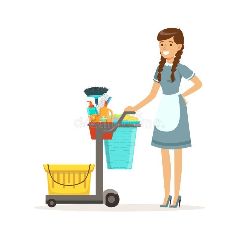 快乐的充分站立与管理员推车的佣人字符佩带的制服供应和设备,清洗的服务  向量例证