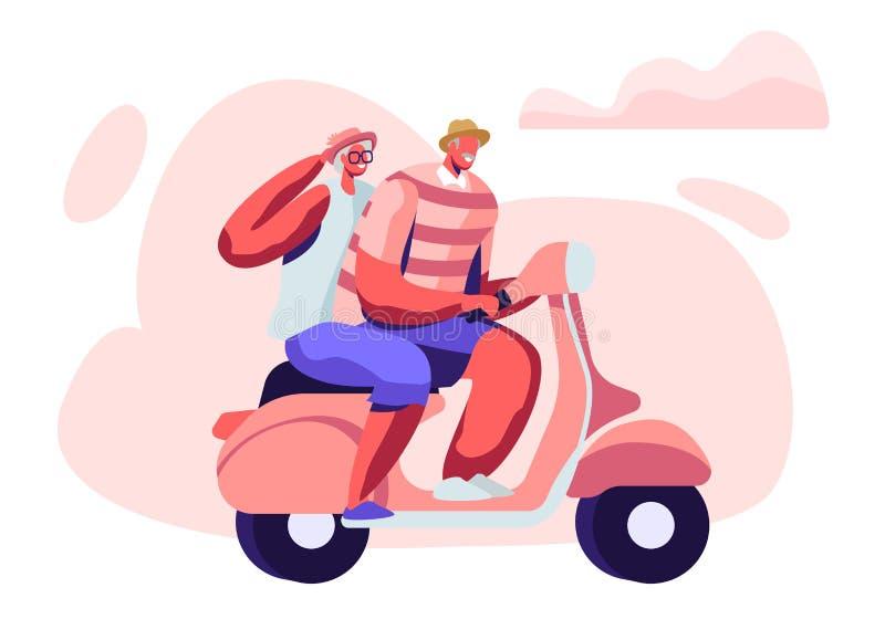 快乐的前辈骑马摩托车、男人和妇女领抚恤金者活跃生活方式,年迈的人极端活动可爱的夫妇  向量例证