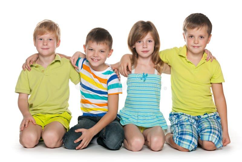 快乐的四个孩子 免版税库存图片