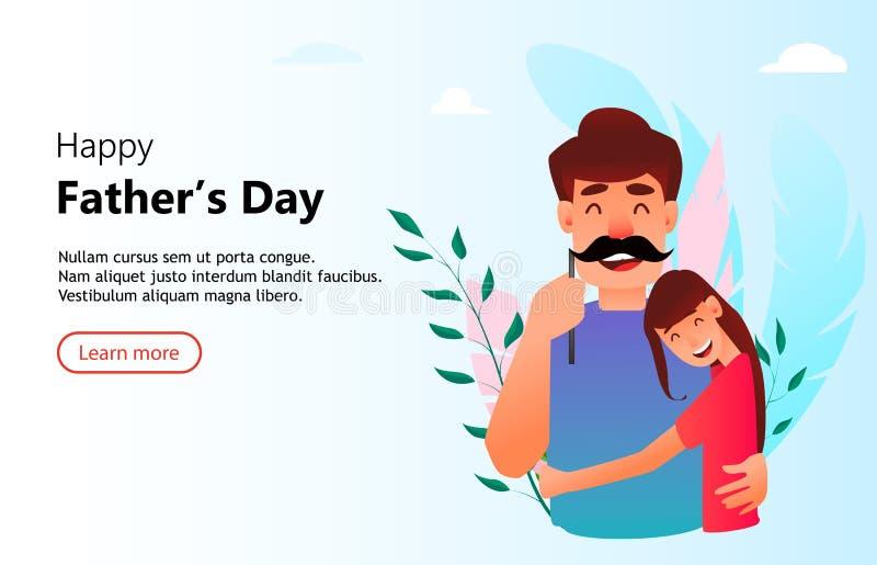 快乐的女儿拥抱他的父亲 向量例证