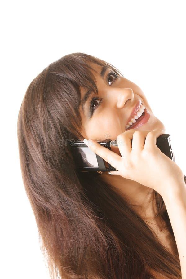 快乐的女孩移动电话 库存图片