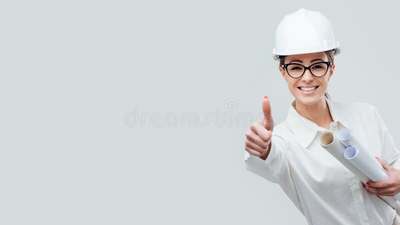 快乐的女性建筑师 库存图片