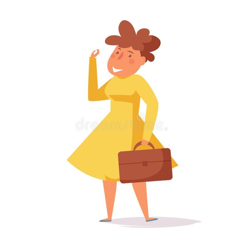 快乐的妇女去工作传染媒介 动画片 被隔绝的艺术 皇族释放例证