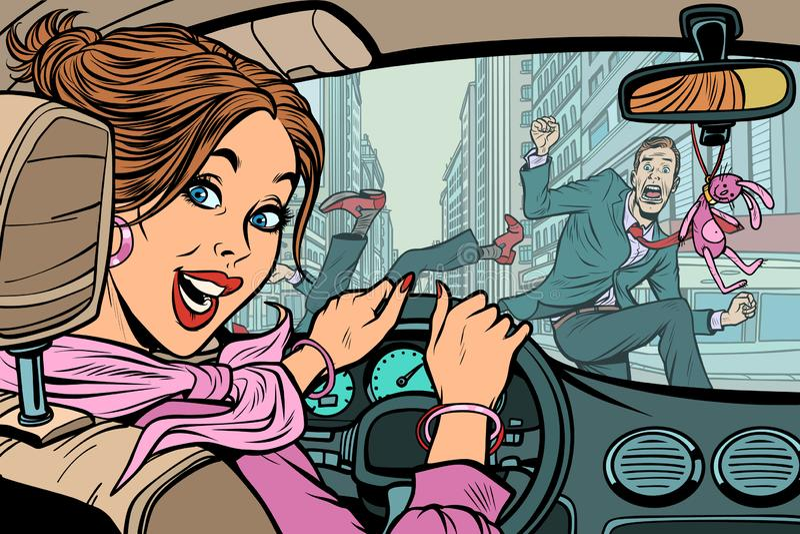 快乐的妇女司机,在路的事故有步行者的 皇族释放例证