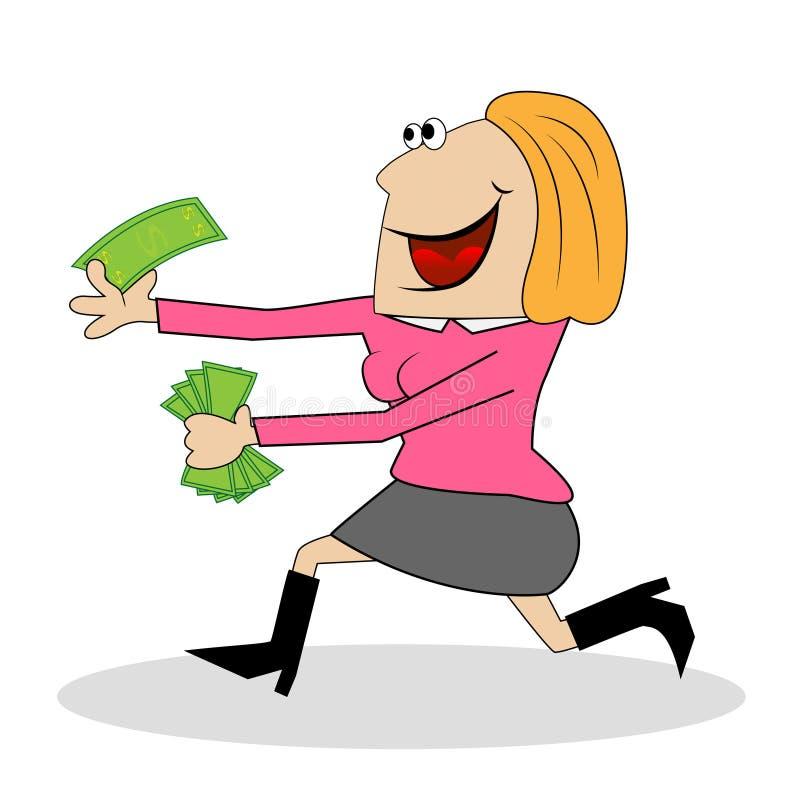 快乐的妇女在手上出逃与金钱 向量例证