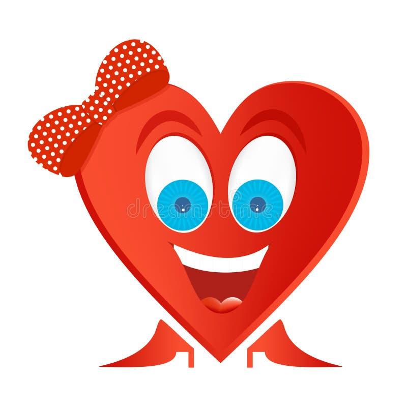快乐的妇女形象与蓝眼睛的红色心脏,与白色牙的大微笑和有红色鞋子的红色舌头,有与白色小点的红色弓的 皇族释放例证