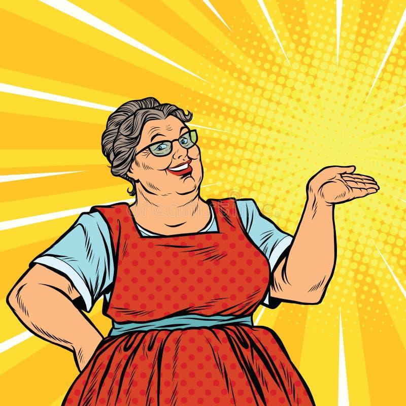 快乐的妇女祖母促进者 向量例证