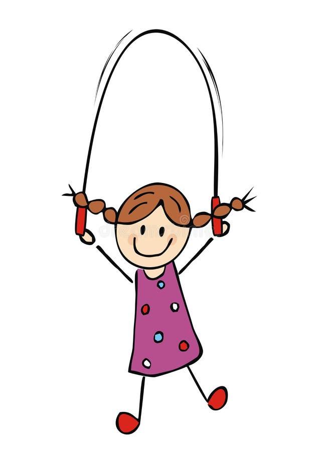 快乐的孩子,女孩和跳绳,有趣的矢量图 免版税库存照片