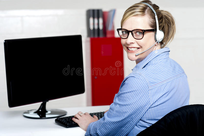 快乐的客户支持执行委员纵向  库存照片