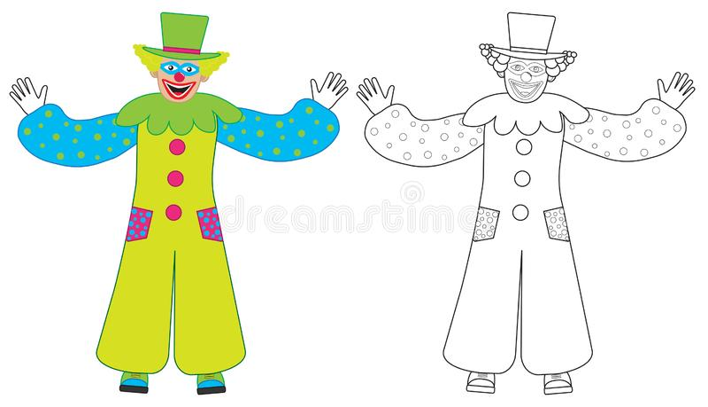 快乐的小丑欢迎,五颜六色和彩图 也corel凹道例证向量 向量例证
