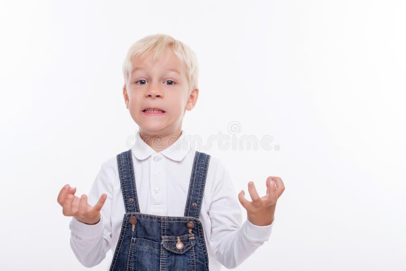 快乐的小男孩表达他的阴性 图库摄影