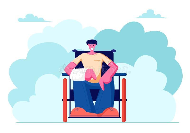 快乐的微笑的废人用断手坐轮椅走的户外,刺激,Bodypositive ?? 皇族释放例证