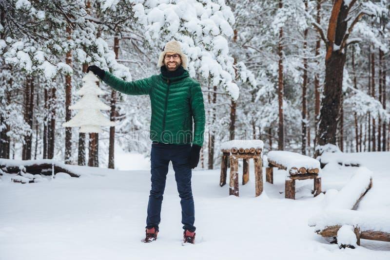 快乐的微笑的男性充分的成长画象展示白色人为杉树,在冬天森林里站立有愉快的表示 图库摄影
