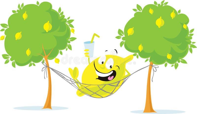 快乐的柠檬字符在有新饮料的-传染媒介吊床放置 免版税库存照片