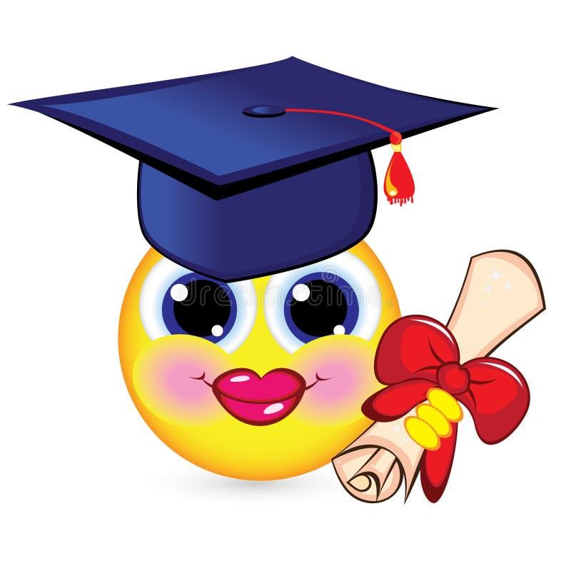 快乐的毕业生面带笑容 向量例证