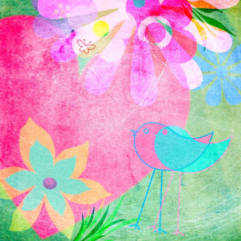 快乐的淡色花卉背景 库存例证