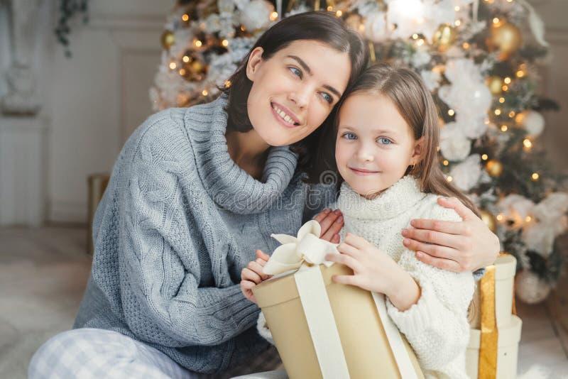 快乐的深色的女性倾斜在她的daugter,拥抱她,提出礼物盒,在客厅近装饰的新年树 免版税库存照片