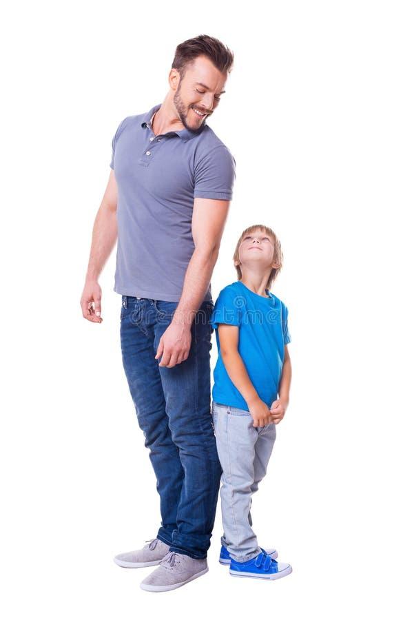 快乐的父亲儿子 库存图片