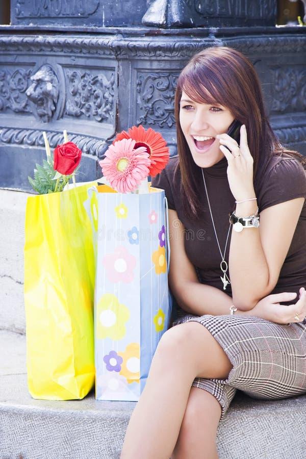 快乐的电话妇女 库存图片