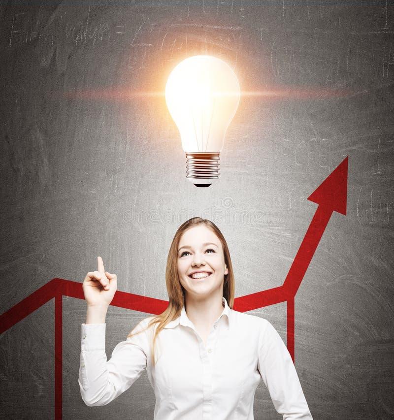 快乐的白肤金发的女孩、电灯泡和图表 免版税库存图片