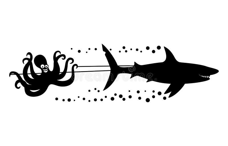 快乐的章鱼和鲨鱼 向量例证