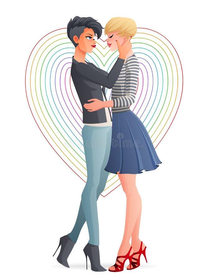 快乐的美好的快乐女同性恋的同性恋夫妇 也corel凹道例证向量 库存例证