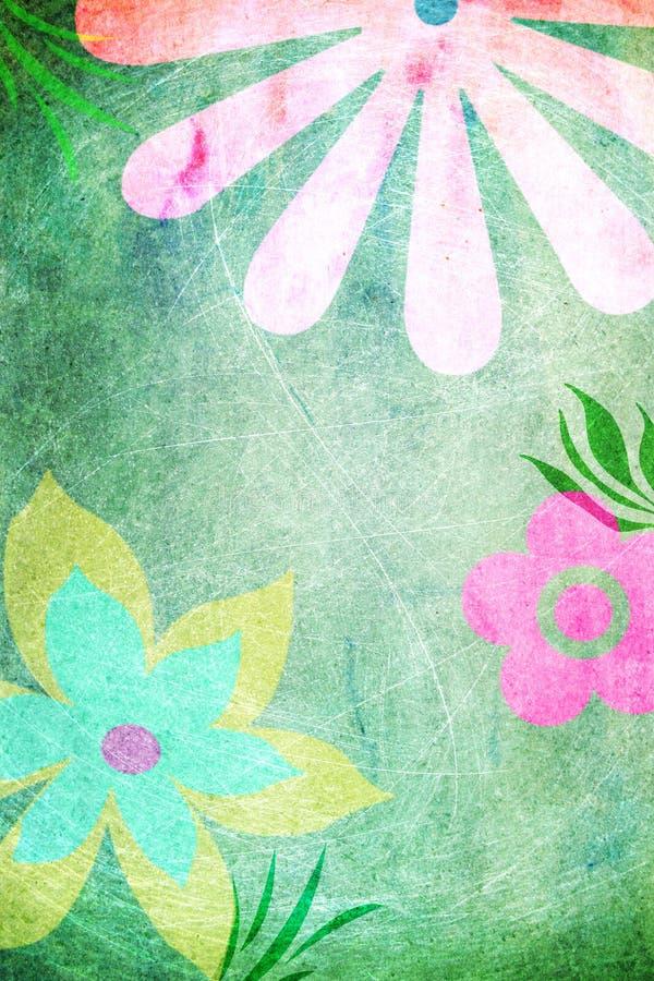快乐的花绿色背景 皇族释放例证