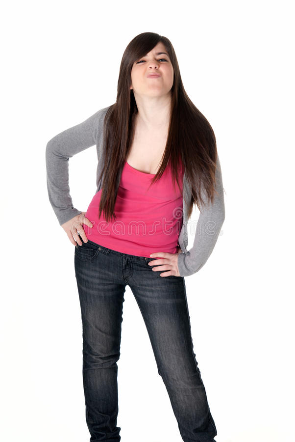 快乐的表达式女性查出的笑话年轻人 免版税图库摄影