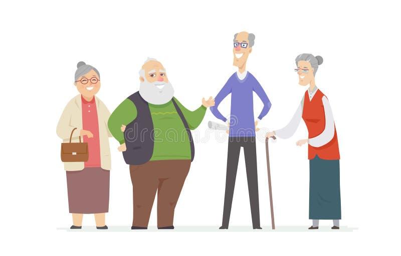快乐的资深人民-设置卡通人物 向量例证