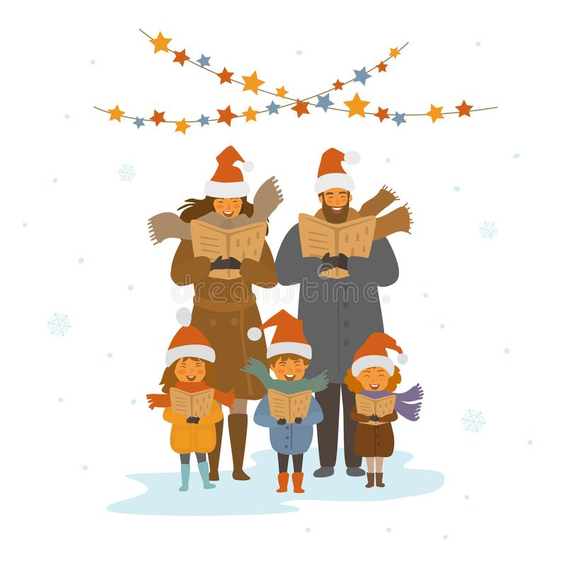 快乐的逗人喜爱的家庭、唱圣诞歌曲颂歌,被隔绝的传染媒介例证的成人和孩子 向量例证