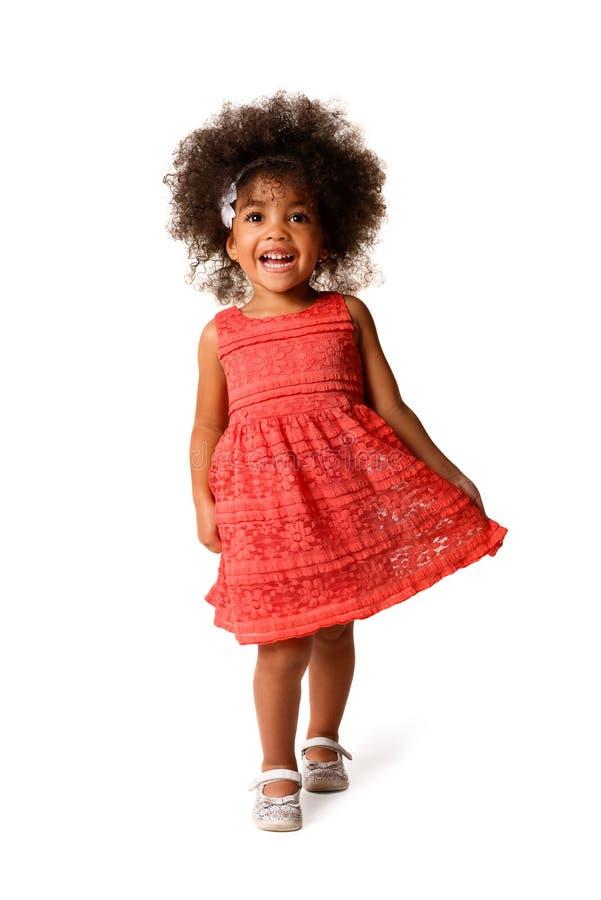 快乐的非裔美国人的女孩全长画象,被隔绝 库存图片