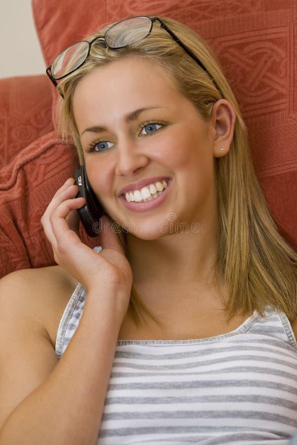 快乐的phonecall 库存图片