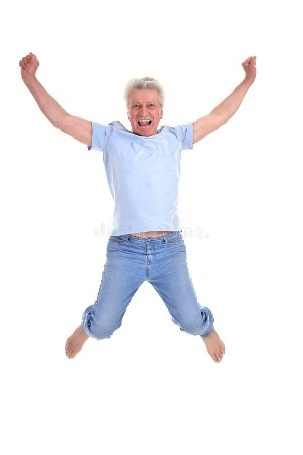 快乐老人跳跃 库存图片