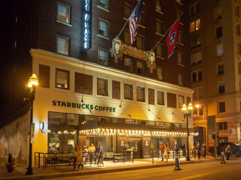 快乐街道,诺克斯维尔,田纳西,美利坚合众国:[夜生活在诺克斯维尔的中心] 图库摄影