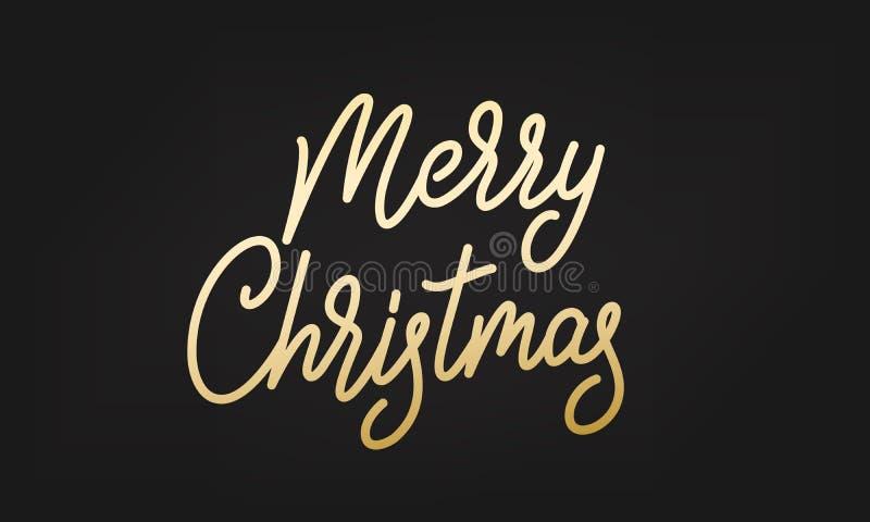 快活圣诞节的标签 在贴纸徽章上写字的金子 库存例证