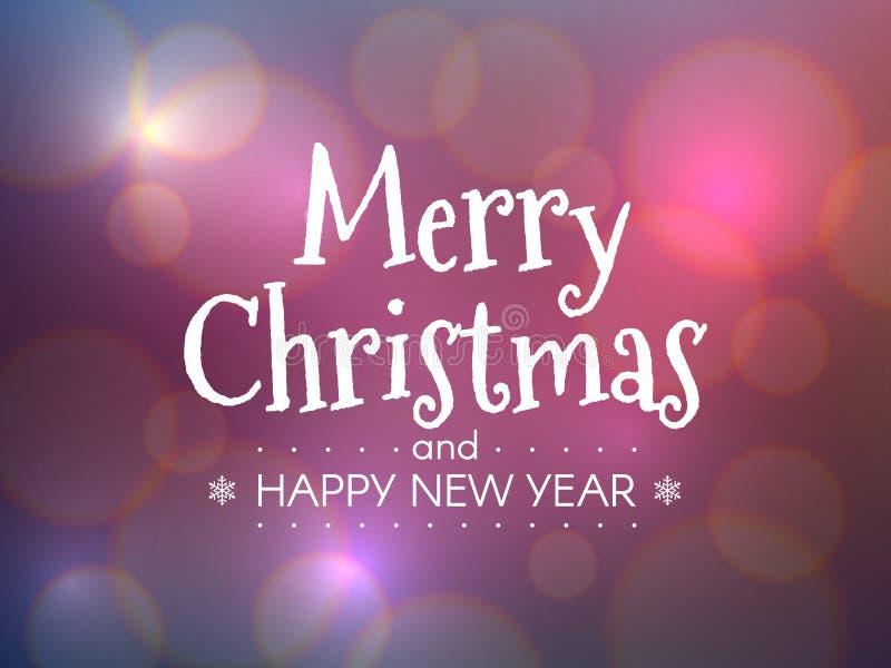 快活圣诞节的概念 新年快乐题字有颜色bokeh背景 与defocused的明亮的Xmas标题 皇族释放例证