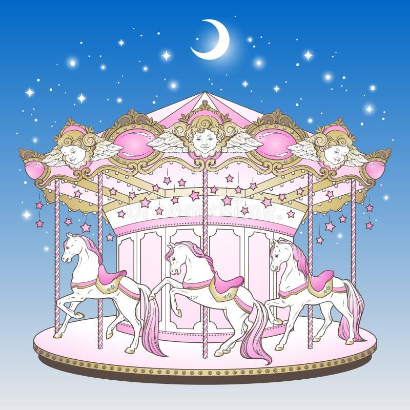 快活是与马的回合在与月亮和星手拉的印刷品设计的蓝色夜空在淡色传染媒介illust的孩子的 库存例证