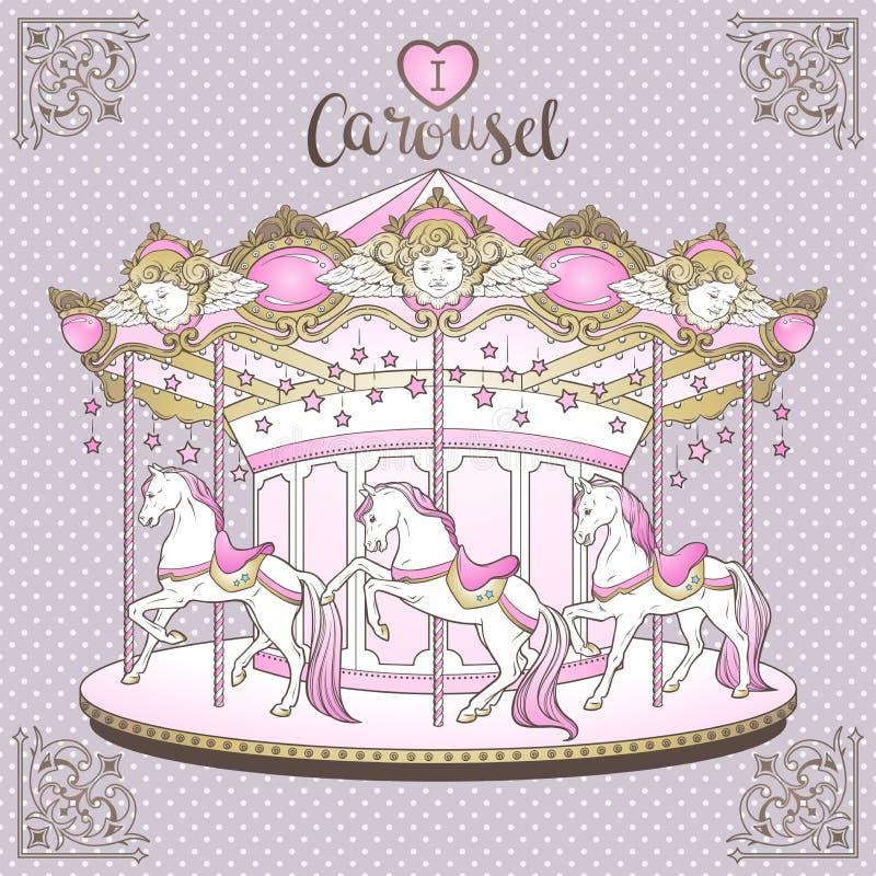 快活是与马的回合在紫色孩子的圆点背景手拉的印刷品设计在淡色传染媒介例证 库存例证